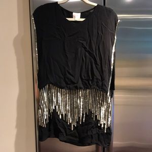 Parker black and silver sequin dress